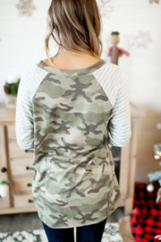 The Hila Top (Camo/Striped Sleeves)(Final Sale)