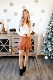 Suede Ruffle Skirt (Brown)