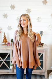 Brushed Poncho Sweater (Bronze) FINAL SALE