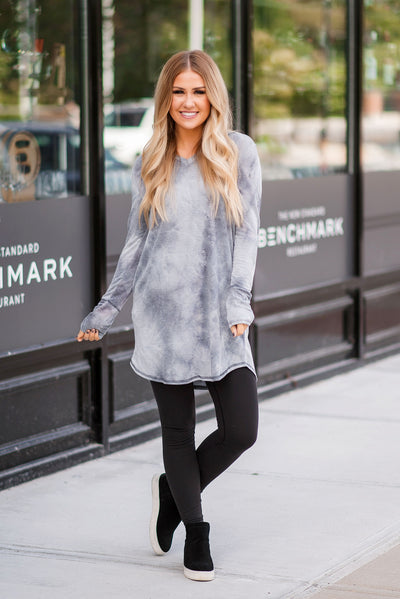 Tie Dye Hooded Midi Dress (Grey) FINAL SALE