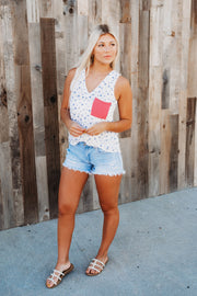 Star Burst Pocket Tank (Ivory/Blue)