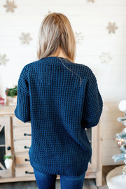 Chunky Knit Cardigan (Navy)