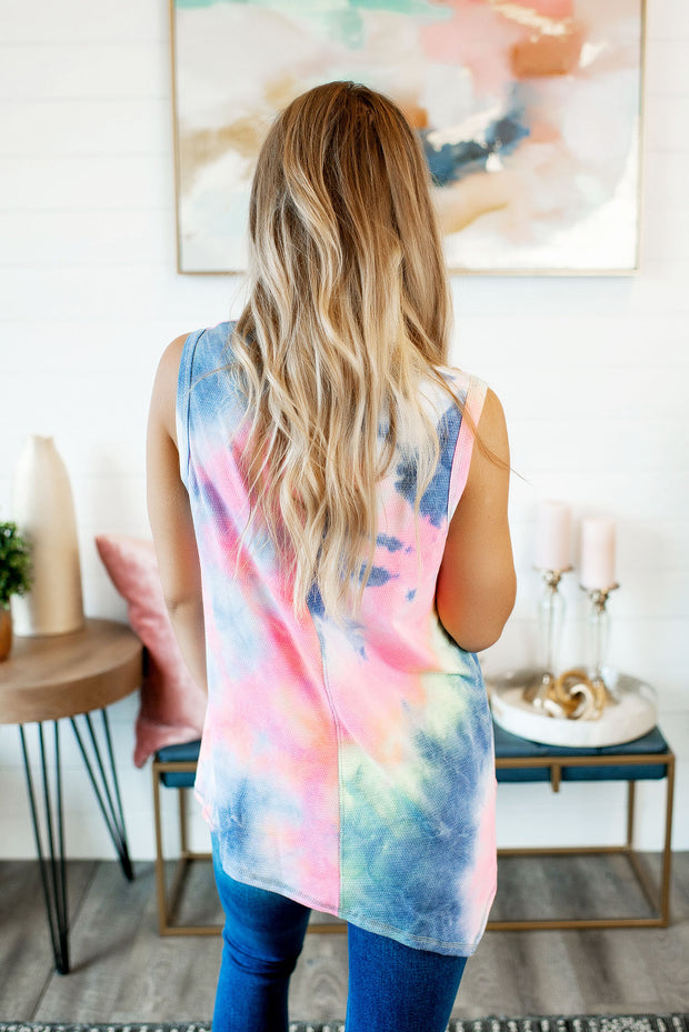 Waterfall Waffle Tank (Pink/Blue Tie Dye) FINAL SALE