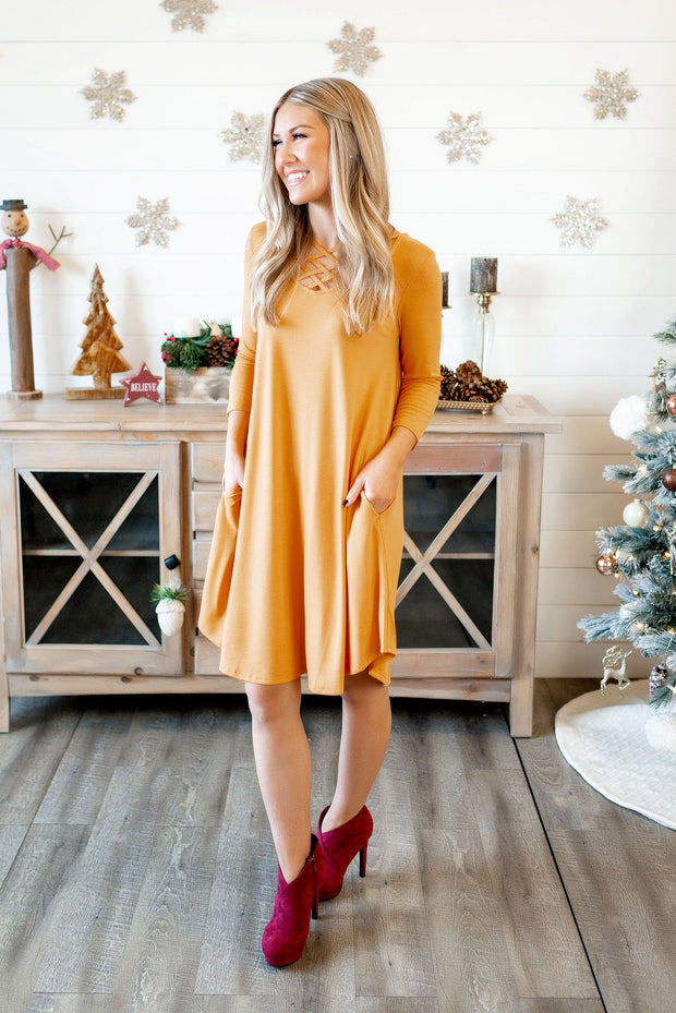 Triple Strap Midi Dress (Ash Mustard) FINAL SALE