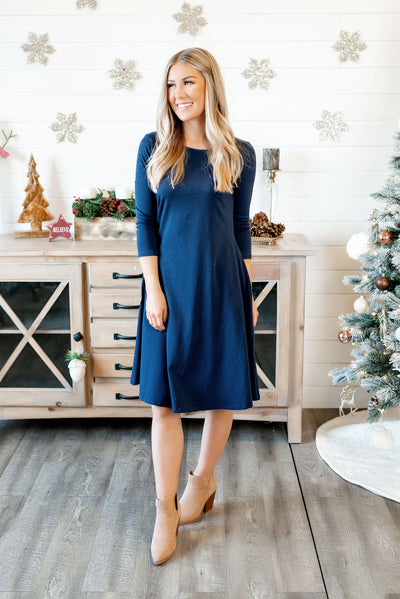 Cotton Swing Dress (Navy)