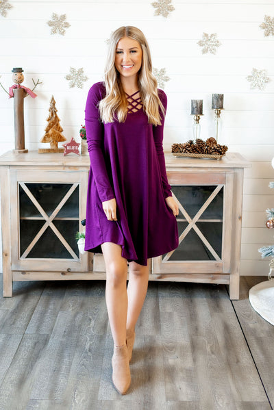 Strappy Midi Dress (Dark Plum)