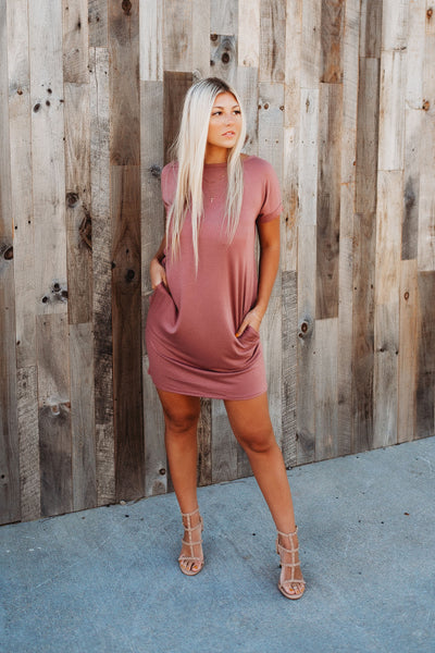 Rockin' Pocket T-Shirt Dress (Mauve)