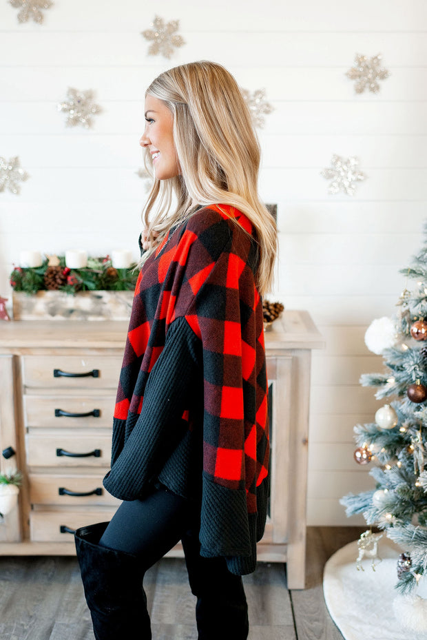 DEAL OF THE DAY Plaid Poncho Sweater (Red/Black) FINAL SALE