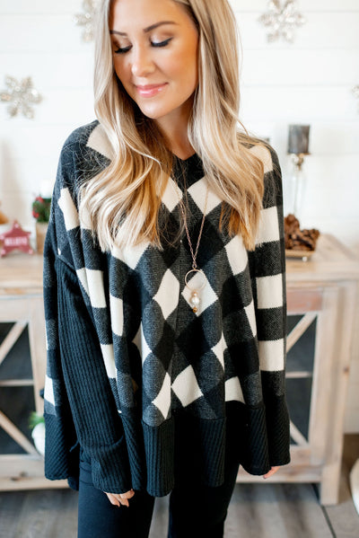 Plaid Poncho Sweater (Black/Ivory) FINAL SALE