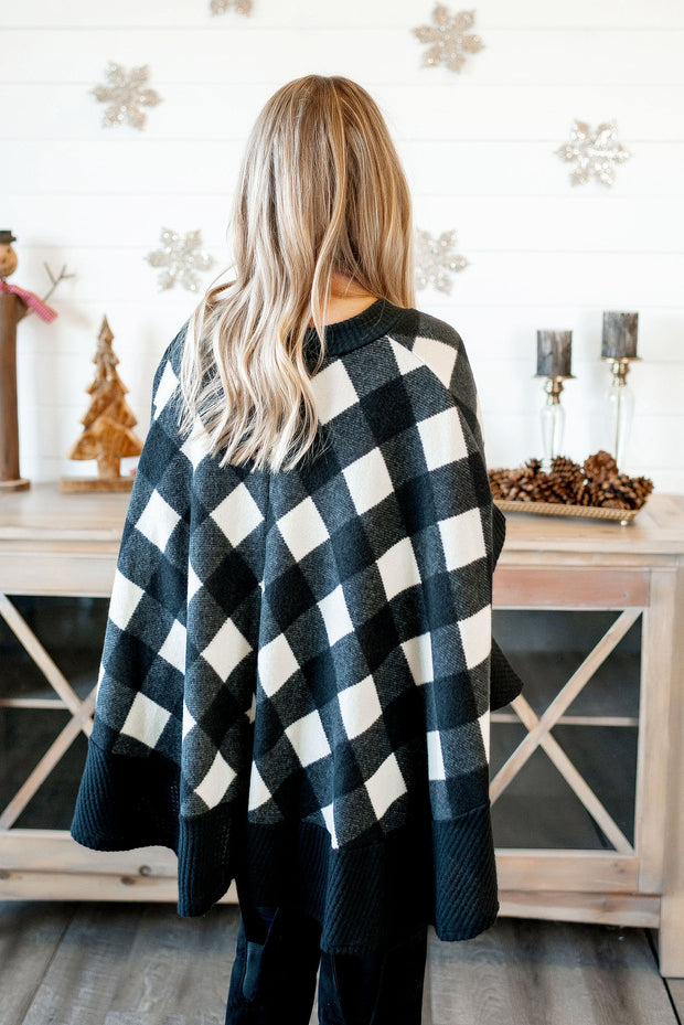 Plaid Poncho Sweater (Black/Ivory)