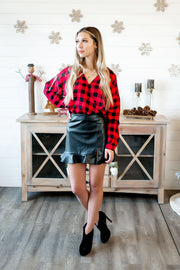 Plaid Surplice Blouse (Red/Black)