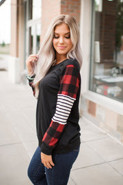 Striped Gingham Long Sleeved Top (Black)