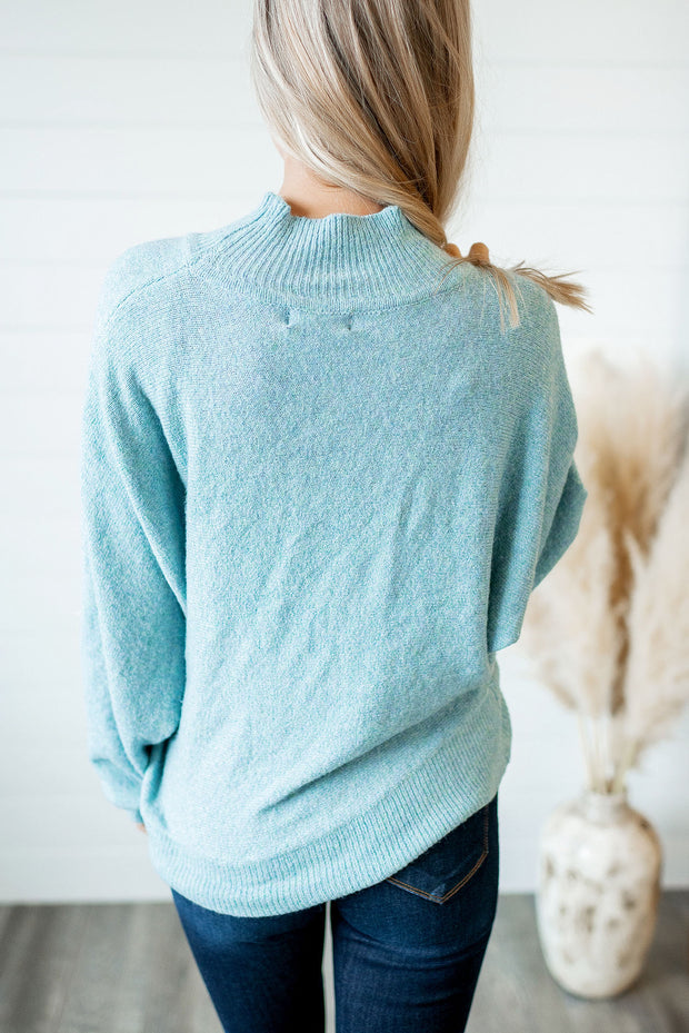 The Mia Mock Neck Sweater (Sky Blue)