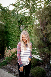 Plaid Raglan Top (Oatmeal/Red) FINAL SALE