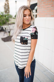 Made With Love Striped Floral Pocket Top (Ivory)
