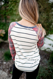 Plaid Raglan Top (Oatmeal/Red)