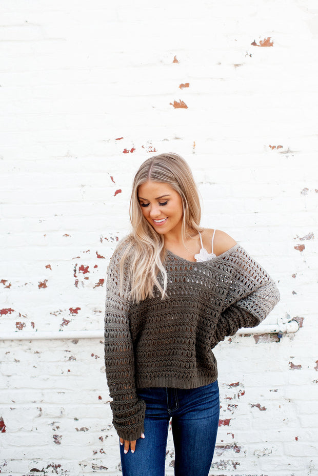 The Collins Ombre Knit Sweater (Olive)