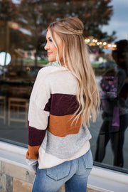 New Ideas Striped Sweater (Camel/Plum) FINAL SALE