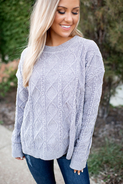 Cassie Cable Knit Sweater (Grey)