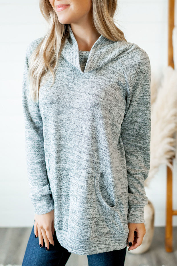 Stop Scrolling Heathered Top (Grey)