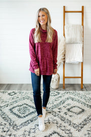 Stop Scrolling Heathered Top (Burgundy)
