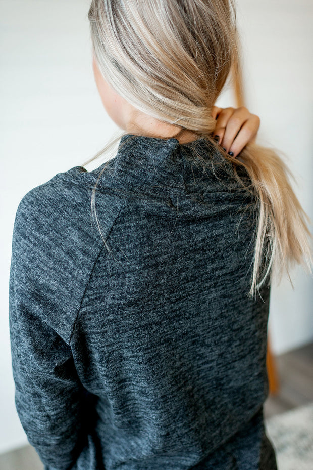 Stop Scrolling Heathered Top (Black)