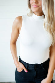Mock Neck Bodysuit (Ivory)