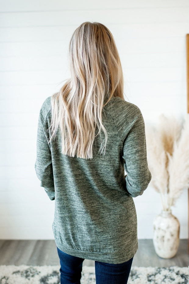 Stop Scrolling Heathered Top (Olive)