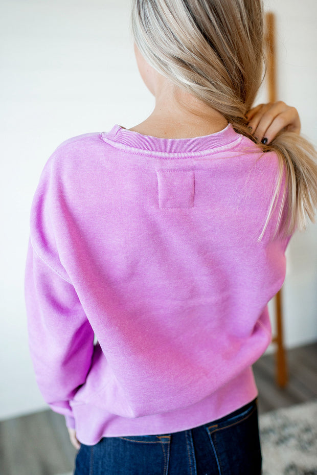 Burnout Fleece Crewneck (Orchid)