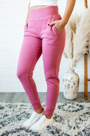 Brushed Fleece Joggers (Pink)