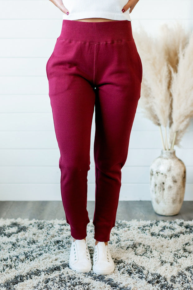 Brushed Fleece Joggers (Burgundy)