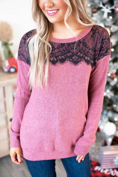 All About That Lace Ribbed Top (Mauve) FINAL SALE