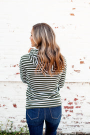 Sadie Striped Half Zip (Olive/Ivory)