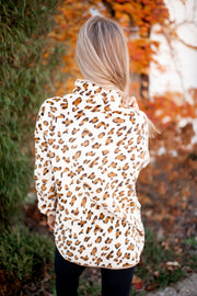 Quilted Leopard Pullover (Taupe/Cream) FINAL SALE