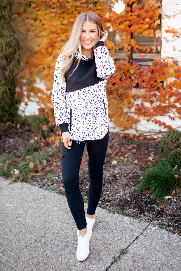 Quilted Leopard Pullover (Black/Ivory)