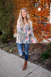 Happy Anywhere Floral Top (Olive)