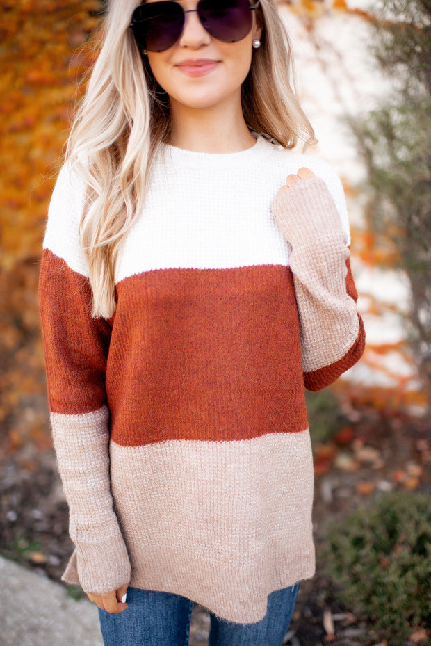 The Reba Color Block Sweater (Rust/Taupe)