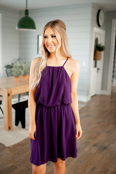 Destiny Halter Dress (Purple)