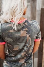 Sweet Surrender Camo Tee (Neon Pink)