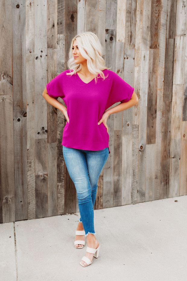 Thank Me Later Blouse (Magenta)