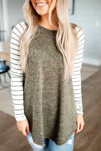Heathered Striped Raglan Top (Olive) FINAL SALE