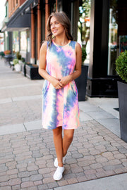 Tie Dye Midi Dress (Navy)FINAL SALE