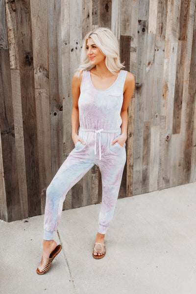 Step Up Your Game Jumpsuit (Blue/Purple)