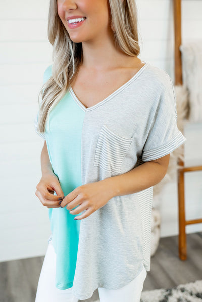 Sweet Spring Color Block Top (H.Grey/Mint)
