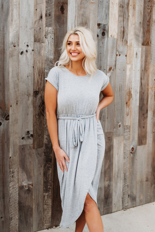 Maybe Someday Midi Dress (Grey)