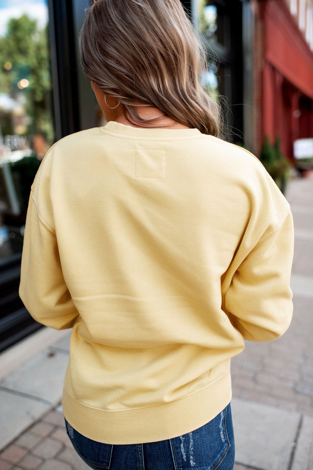 Burnout Fleece Crewneck (Butter Yellow)