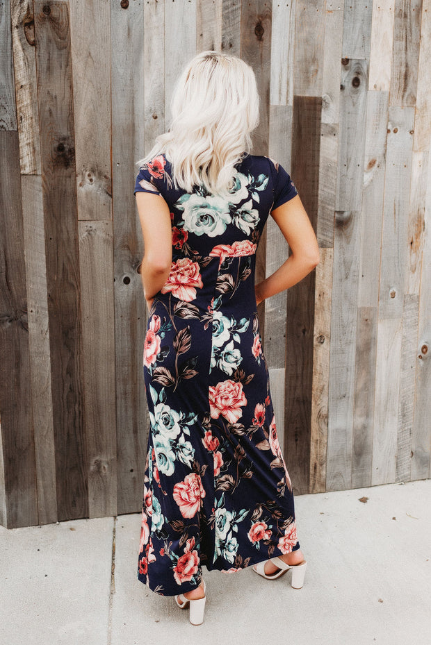 Make You Miss Me Floral Maxi (Navy)