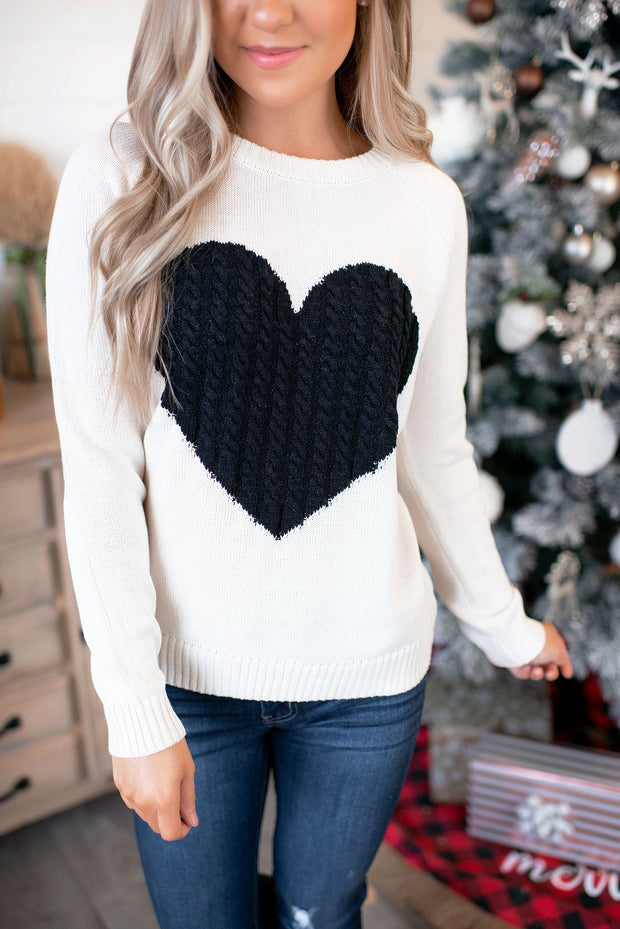 Embrace My Heart Sweater (Cream/Black)