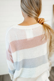 Pretty in Pastels Striped Sweater (Blush/Oatmeal)