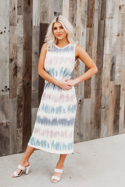 Summer Haze Midi Dress (Navy/Mauve)